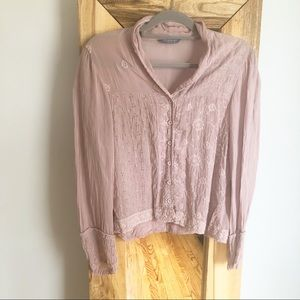Johnny Was Blush Pink Eyelet Floral Blouse S